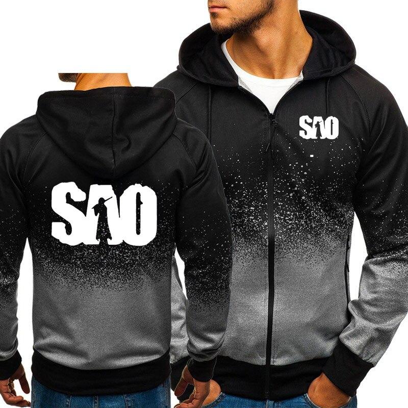 SAO Sword Art Online Gradient Hoodies Men Harajuku Hip Hop Sweatshirt Fleece Zipper jacket Tracksuit Male Casual Sportswear