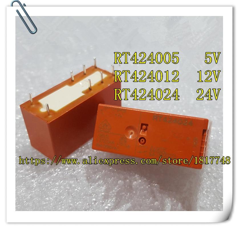 10 unids/lote RT424005 RT424012 RT424024 5V 12V 24V 8A 8PIN dos se abre y dos cierra Relés de Potencia