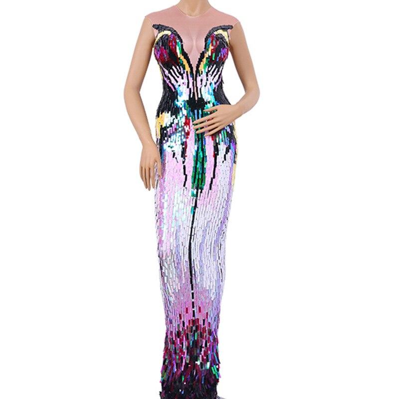 فستان طويل مثير بدون أكمام للنساء ، فستان مغني راقصة ، ملابس مسرح ، ملهى ليلي ، ألوان كاملة