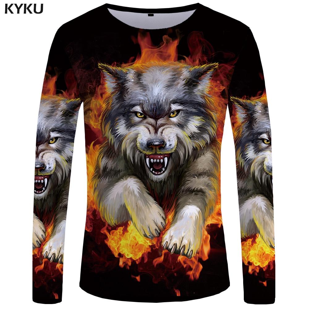 Футболка с длинным рукавом KYKU Wolf, Мужская 3d футболка в стиле панк