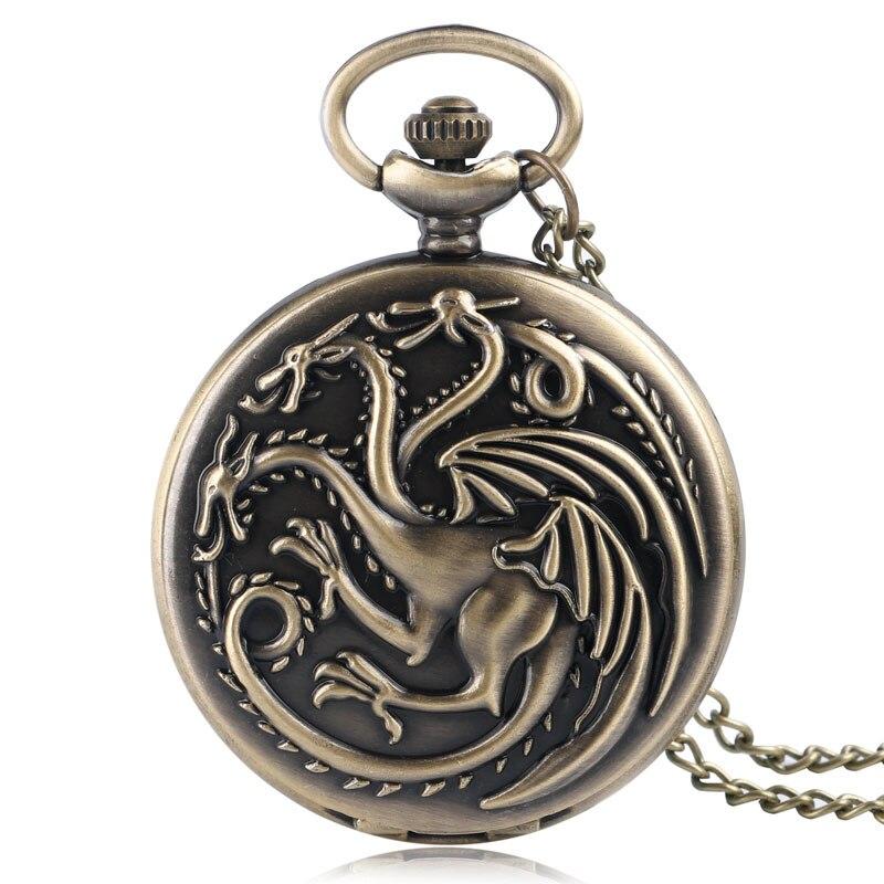 Juego de tronos Retro casa Targaryen reloj de bolsillo de cuarzo dragón fuego y sangre hombre mujer COLLAR COLGANTE reloj Montre Femme
