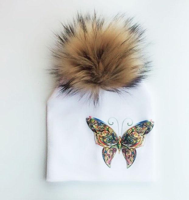 Gorro infantil de invierno con diseño de mariposa y unicornio para niños y niñas