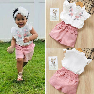 PUDCOCO Kid Baby Girl Sets Floral Shirt Tops + Short Pants 2PCs Set Casual Cotton Outfits Child Girls Clothes 2-7T