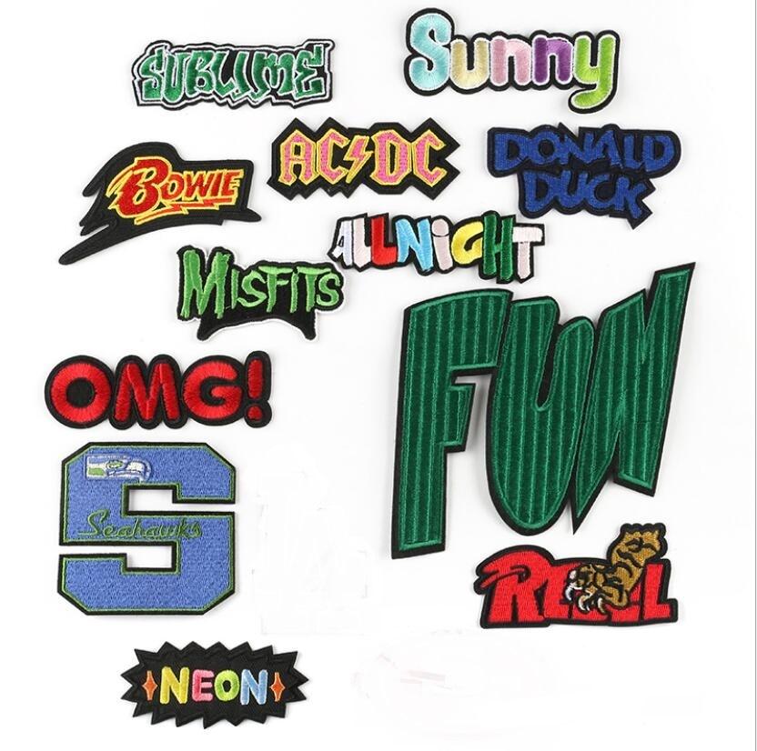 Fun Misfits inglés tela con letras palo bordado hierro en parches ropa de ordenador Accesorios zapatos, sombreros, cajas y insignia
