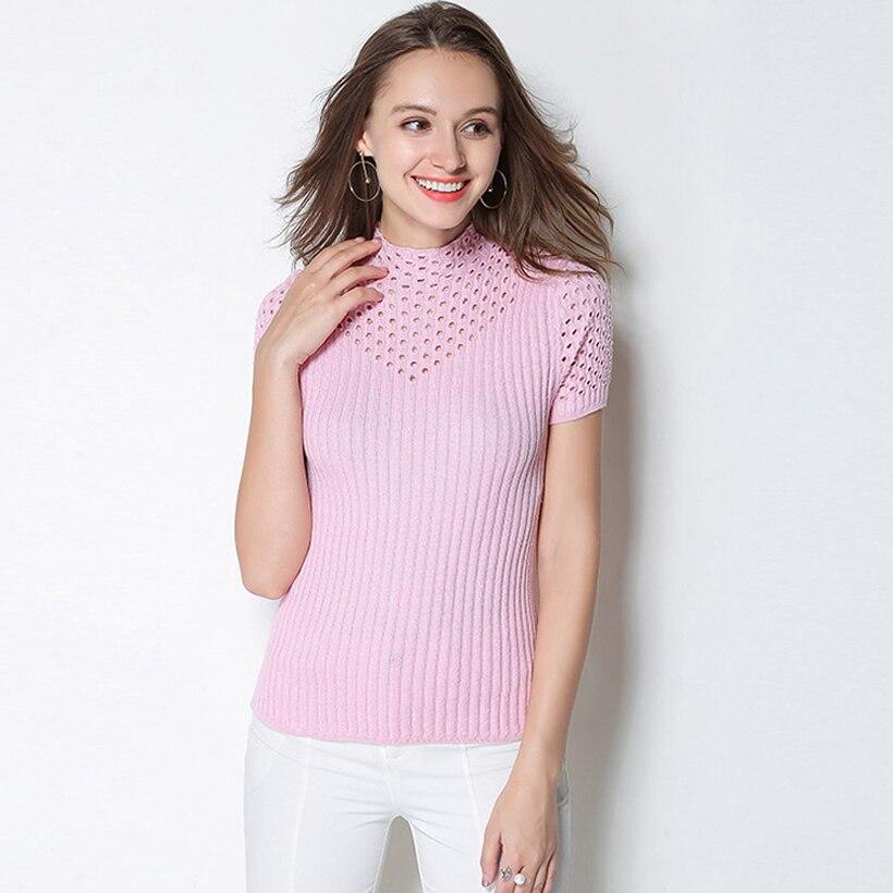 GABERLY suéteres y jerseys de manga corta de Cachemira suave para mujer primavera otoño suéter de mujer Top tejido de marca