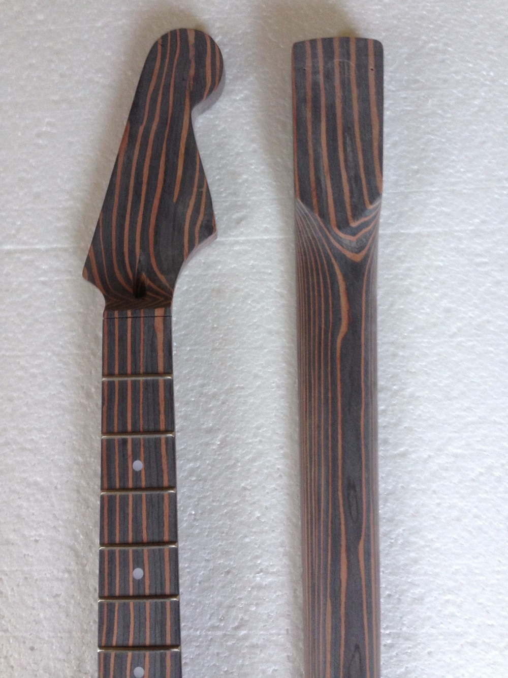 Free shipping  zebra wood guitar Neck  one piece wood neck  no painting  guitar shape can choose enlarge