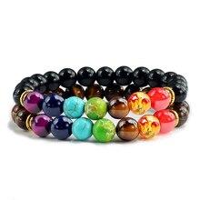 2 stks/set 7 Chakra Armband Voor Vrouwen Mannen Balans Boeddha Reiki Gebed Tijger Ogen Zwart Natuursteen Kralen Yoga Strand armbanden