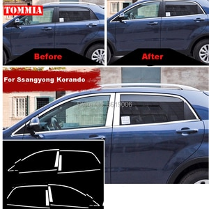 TOMMIA Full Window Middle Pillar Molding Sill Trim Chromium Styling Strips Stainless Steel For Ssangyong Kornando
