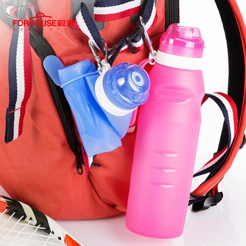 600 ml dobrável silicone garrafa de água chaleira bpa livre esporte ao ar livre viagem correndo caminhadas criativo dobrável garrafa potável