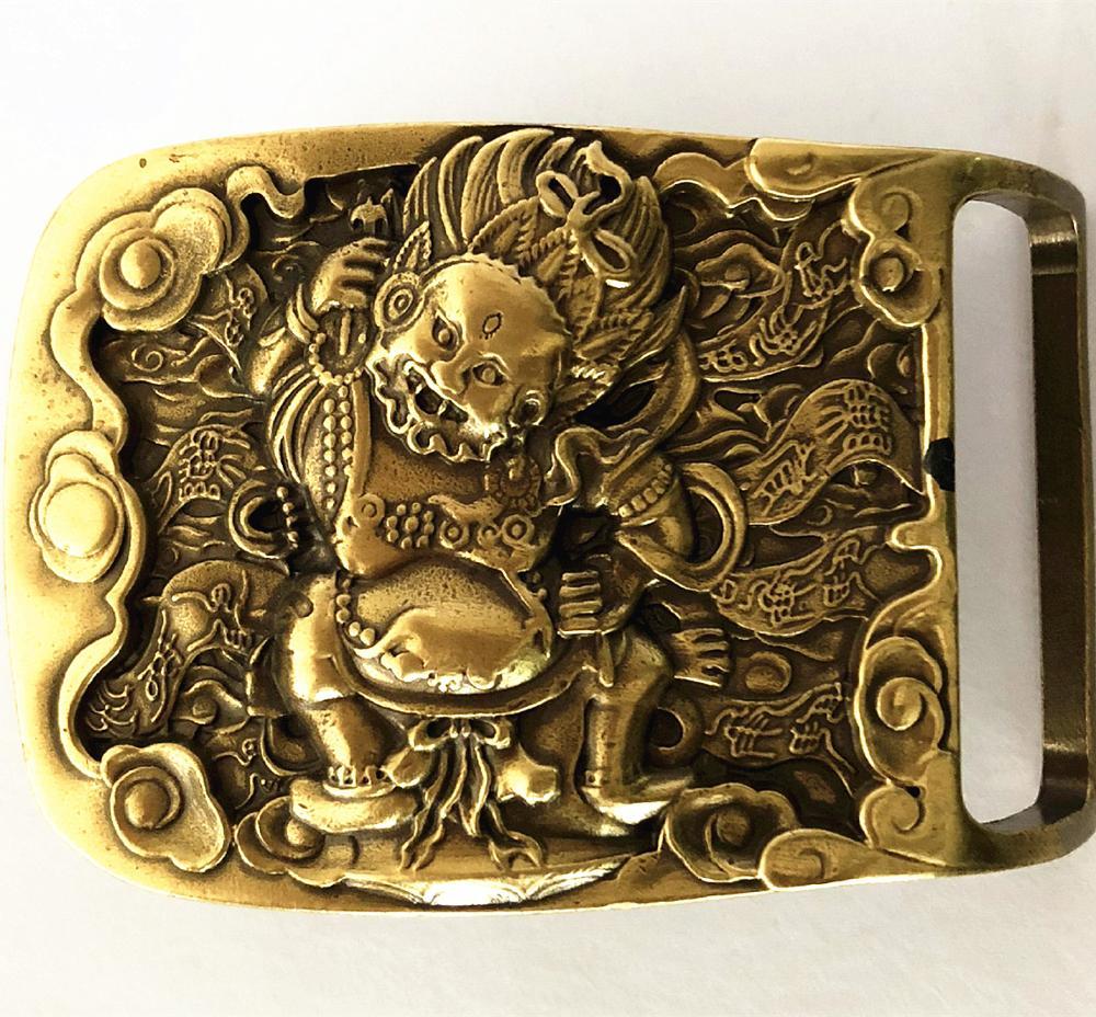 Винтажная антикварная большая пряжка для ремня из чистой латуни с дьяволом от Hell Cowboy мужская модная подарочная