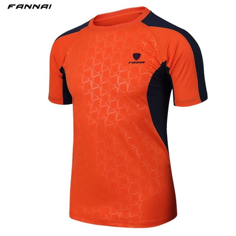 FANNAI Brand mens Summer Quick-dry Tennis shirt Outdoor sports Running Fitness clothes male Short-sleeve t shirts jogging tee