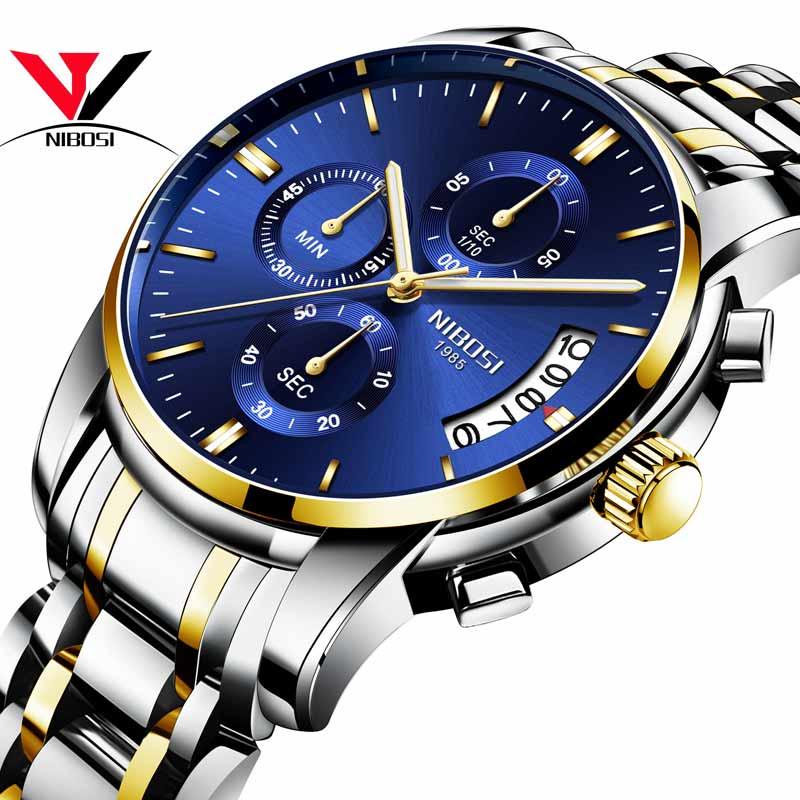 Reloj Masculino NIBOSI relojes para hombre marca de lujo vestido de marca famosa, reloj de los hombres impermeable/calendario luminoso reloj de oro de los hombres