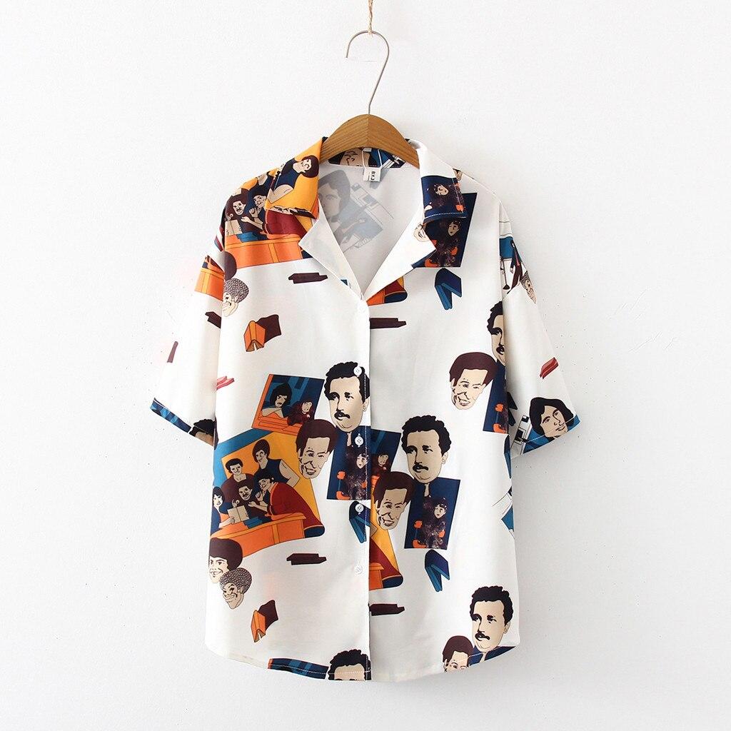 Camisa coreana divertida para mujer, camiseta de manga corta, Top, blusa a la moda, blusa Vintage con estampado, camisa coreana, camisas sueltas Casuales