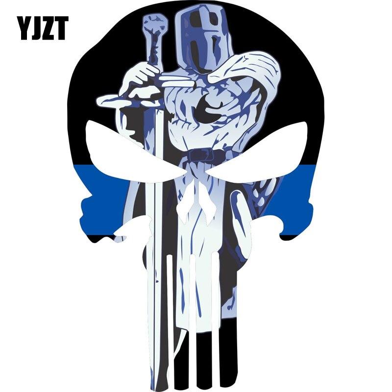 Yjzt 9.7 cm * 15.2 cm punisher crânio fina linha azul decalque espada permanente polícia decalque reflexivo carro adesivo C1-7029