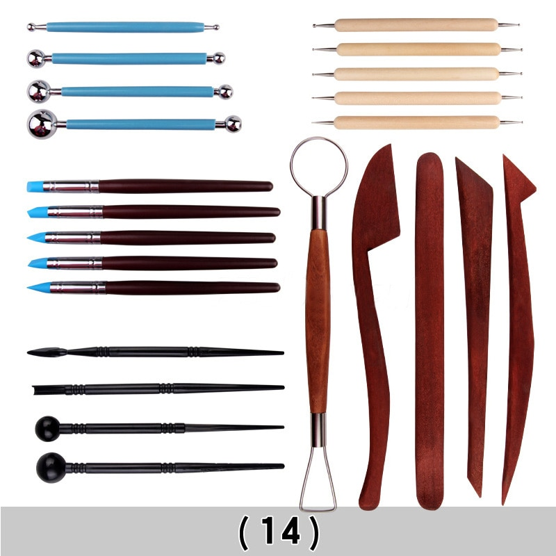 Holz Griff Keramik-Set Keramik Ton Glättung Polymer Shapers 1Set Wachs Carving Sculpt Keramik Werkzeuge Rock Malerei Kit
