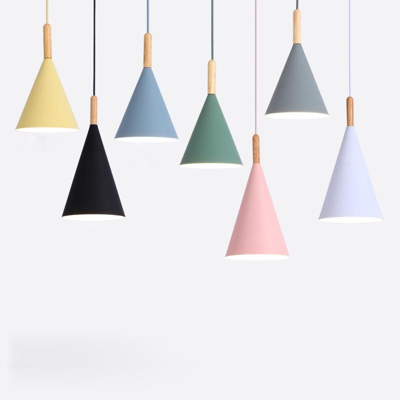 Nordic Minimalist droplight E27 Wooden pendant light Colorful lamp Home decor lighting lamp Dinning room Bar Showcase spot light