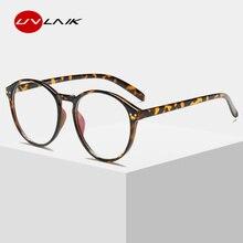 UVLAIK Optical Clear Glasses Frame Men Women Vintage Round Eyeglasses Retro Handmade Circle Clear Lens Transparent Glasses
