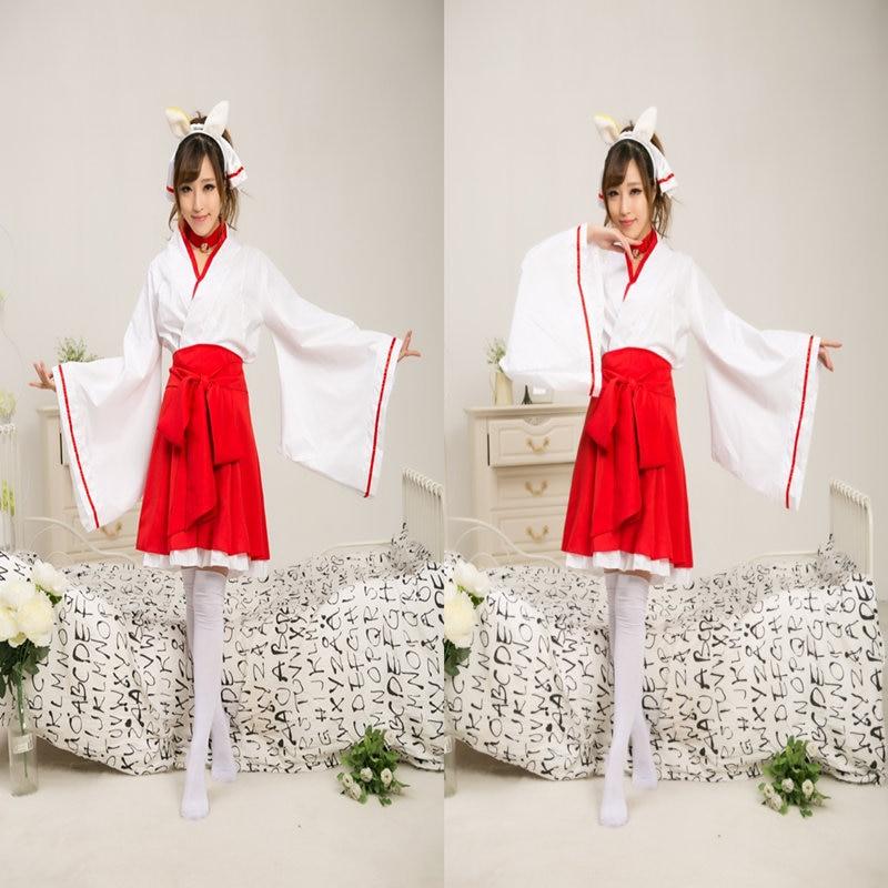 Anime Cosplay Inu X Boku SS Secret Service Shirakiin Ririchiyo Cosplay Costume Atavistic Miko Priestess Kimono Clothes