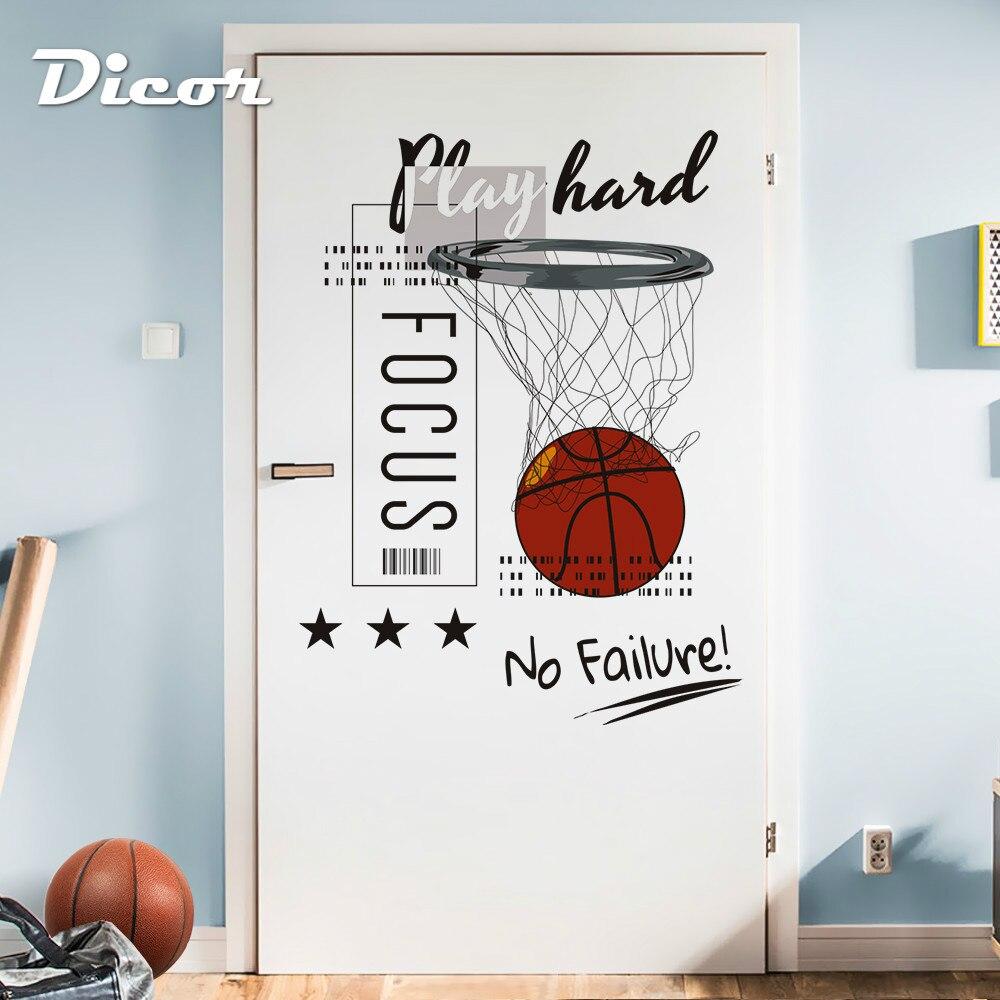DICOR SLAM DUNK, pegatina para pared, póster de baloncesto, Mural de enfoque sin fallo para la decoración de la habitación juvenil QT1142