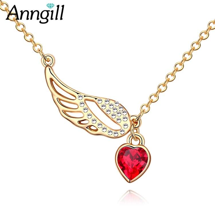 Romântico asas de anjo colares cristais de swarovski amor coração pingente colar melhores presentes para mulheres meninas moda jóias