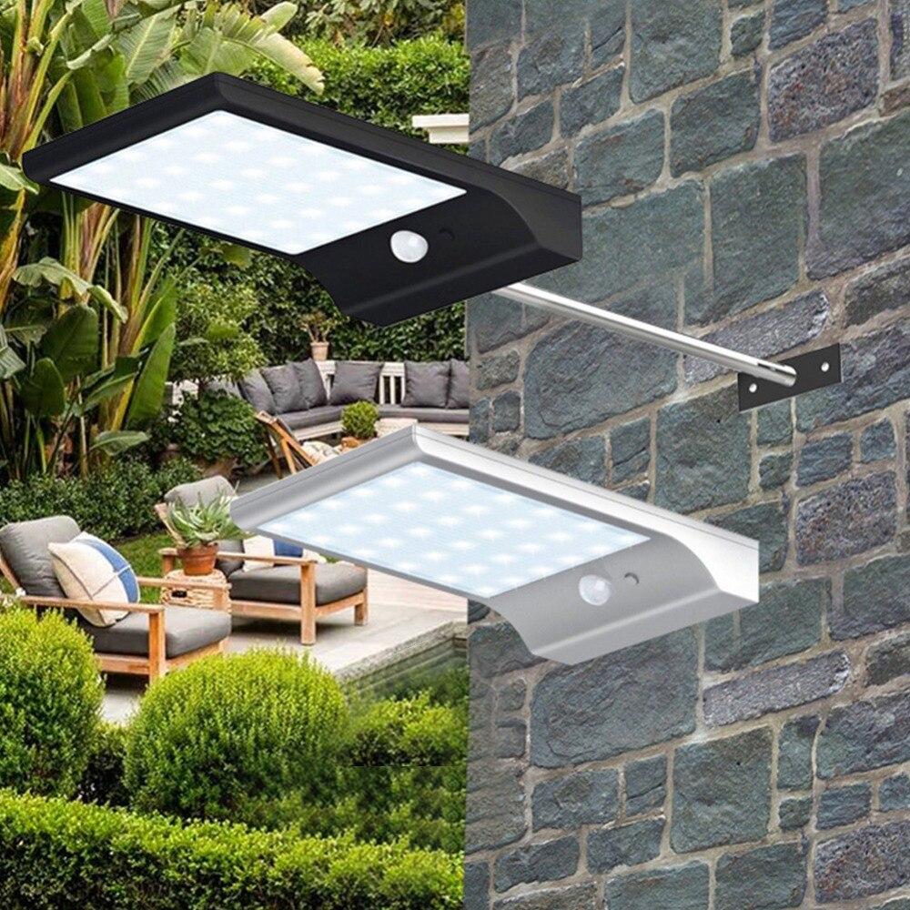 Lámpara Solar para exteriores, luz Led, 3 modos PIR, Sensor de movimiento, lámpara alimentada por energía Solar, pared 36 LED, farola de jardín para decoración de patio
