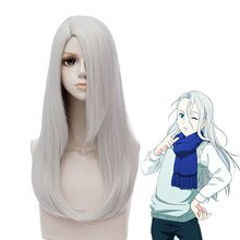 Anime YURI!!! on ICE Viktor Nikiforov Cosplay Wig Silver Grey Long Side Parting Synthetic Hair + Wig Cap