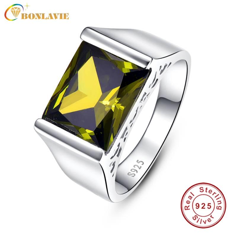 Женские кольца BONLAVIE, из стерлингового серебра 925 пробы с квадратными желтыми перидотами, Подарочная коробка 10,55 карат