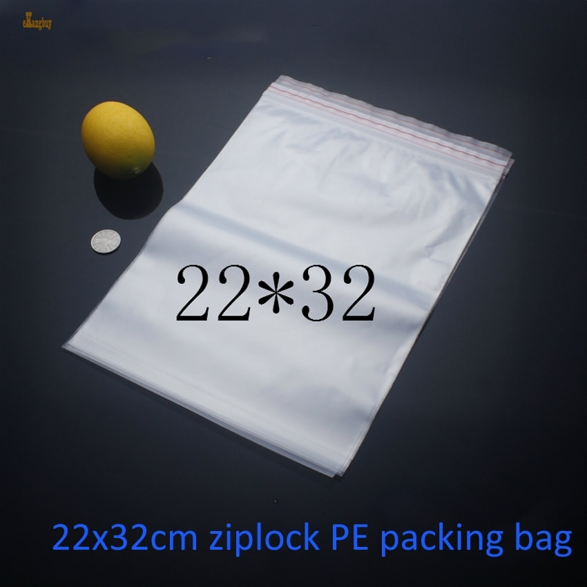 2018 شحن مجاني 100 قطعة الحجم: 22x32cm علب لتغليف الملابس قفل بسحّاب إعادة تدوير حقائب بلاستيكية ، كيس تغليف بولي ايثيلين شفاف