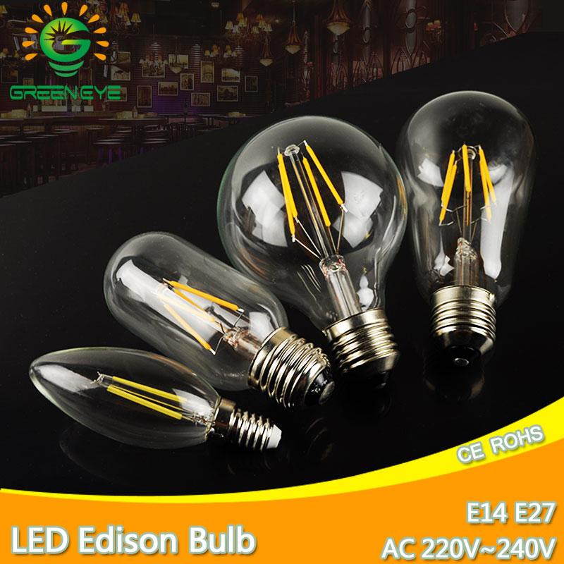 Bombilla LED Edison E27, lámpara E14 de 220V, filamento Retro antiguo, Bombilla...