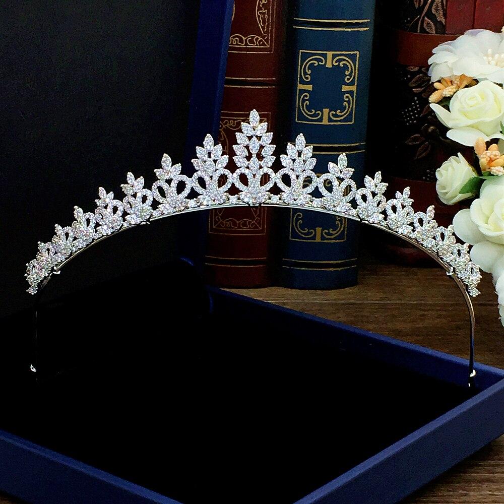 Tiara nupcial Simple circón princesa corona Diadema Tiaras y coronas boda accesorios...