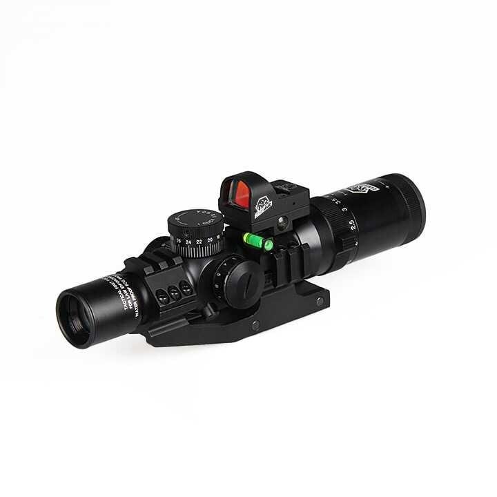 Canis Latrans Escopo Tático 1-4x24 IRF Rifle Scope + Red Dot Sight + Riflescope Nível de Bolha + 30 MM Dupla escopo Montar GZ1-0292