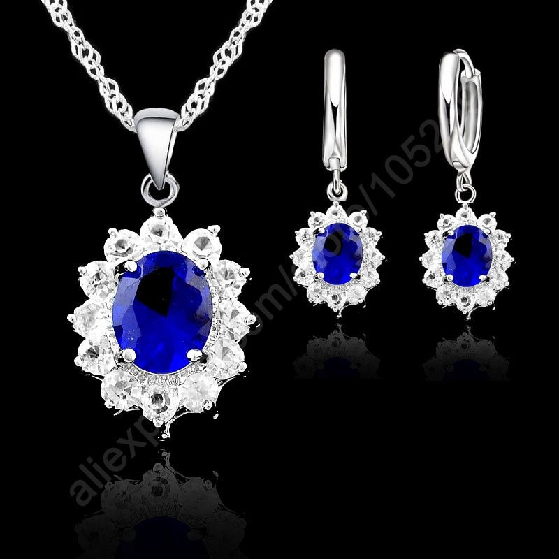 sa silverage 925 sterling silver vintage pendant chain necklaces water drop drop earrings jewelry sets for woman long earrings New Big Sale Vintage Round Crystal 925 Sterling Silver Jewelry Sets Drop Earrings Set Necklace Pendant For Women