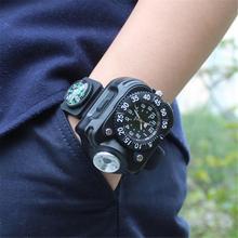 새로운 손목 라이트 나침반 캠핑 시계 충전식 가변 출력 LED 고강도 시계 JLY0805