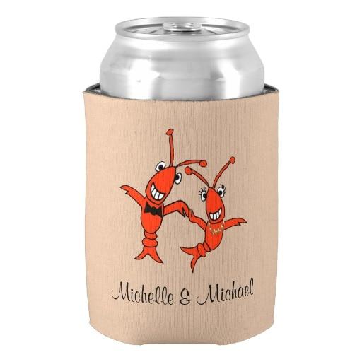 Personalizado monograma boda puede enfriar rojo langosta novia ducha accesorios bebida aislante decoración del hogar para recién casados