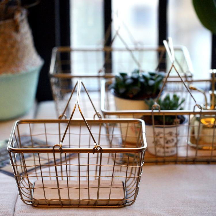 De Metal cesto de hierro de almacenaje con madera nórdica elegante doble ASA neto varios tipos de alimentos cesta de almacenamiento de escritorio organizador casa Decoración