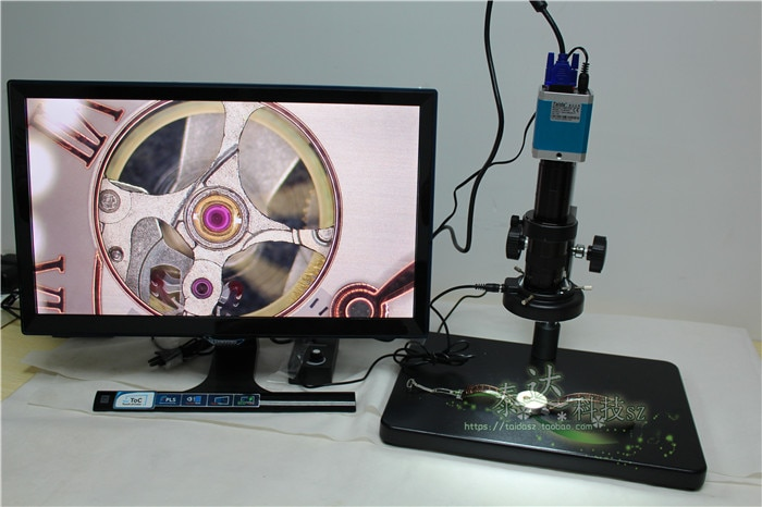 VGA USB microscópio eletrônico de interface dupla 180 vezes microscópio industrial 9 cm de largura de armazenamento do cartão SD