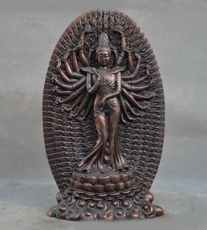 Decoración de la boda de tibet, budismo bronce Avalokitesvara Kwan-Yin Guanyin Estatua de la diosa Bodhisattva