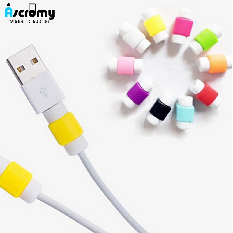 Protector de Cable Ascromy 100 Uds colorido para Apple iPhone iPad, cargador de auriculares, Cable USB, cubierta protectora