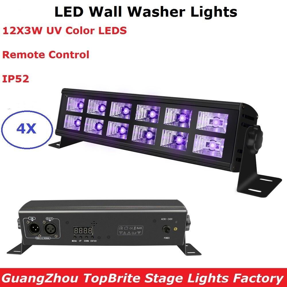 4XLot UV Black Lights DMX Disco Lights 12X3W LED Stage Lights Dj Wash Effect Lighting Indoor Bar Wall Washer For Christmas Dj