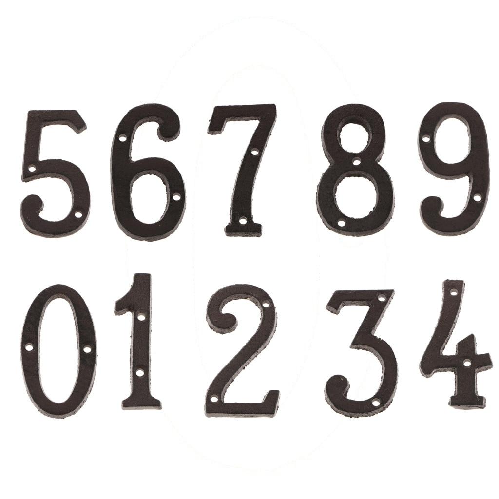 ABS Plástico 0-9 Números de Porta de Bronze Auto-Adesivo Personalizado Casa Sinal de Endereço Sinais Dígitos do Número Da Porta Etiqueta Placa