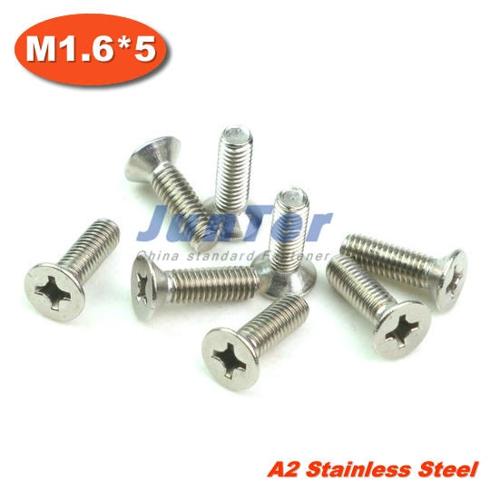 1000 unids/lote DIN965 M1.6 * 5 DE ACERO INOXIDABLE A2 máquina Phillips de cabeza plana (Cruz los tornillos avellanados de cabeza plana) tornillo