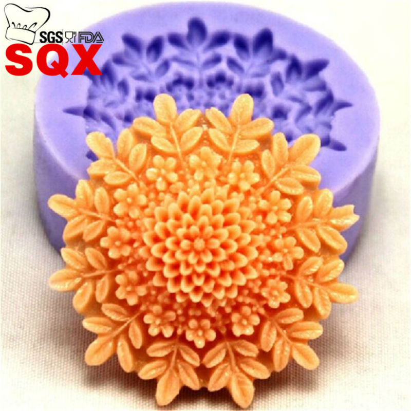 Minimoldes de silicona para decoración de tartas, molde para fondant, azúcar, chocolate, molde para dulces en forma de flor para cocina SQ1546