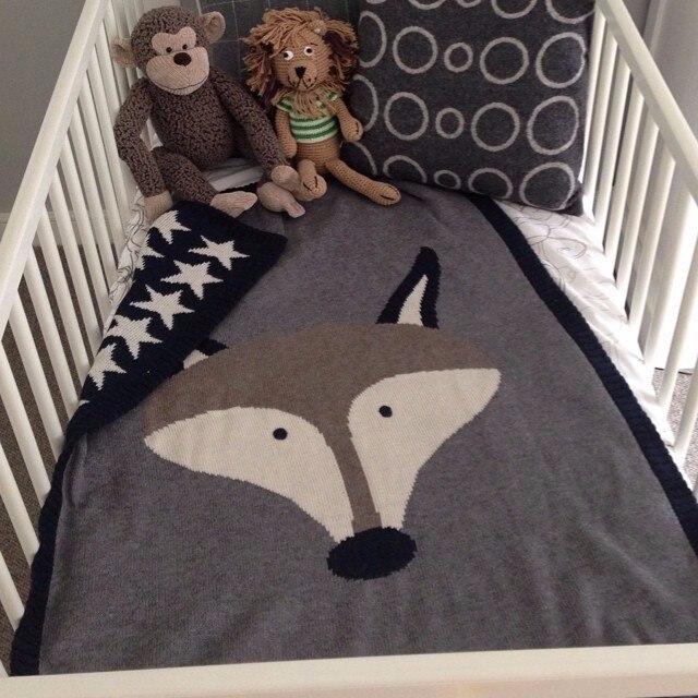 90*120cm Newborn Baby Blankets Muslin baby Swaddle Blanket Fox Rabbit Knitted Cartoon Bath Towels kids Soft Wrap throw blanket