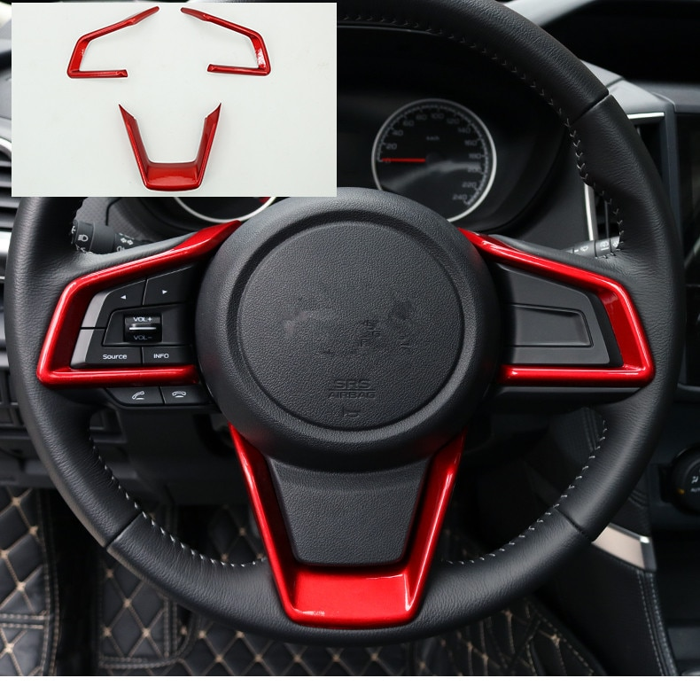 Fibra de carbono rojo naranja azul perla blanco volante decorado marco para Subaru Forester 2019 XV-2018 AA489