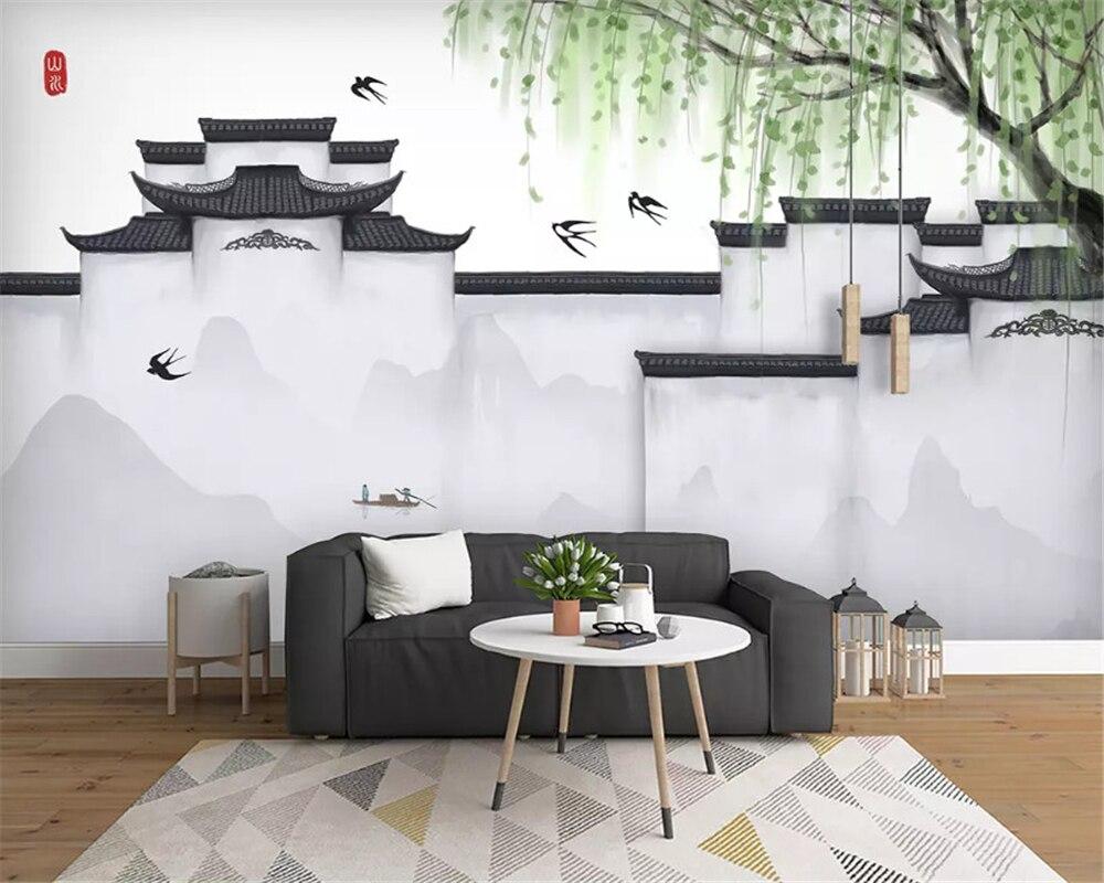 Beibehang Personalizado clássico de seda papel de parede 3d papel de parede minimalista Nórdico abstrato da arte da tinta arquitetura urbana de fundo