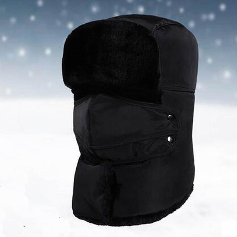 QBHAT 2020 Winter Unisex Bomber Hats Thickening Fur Earflap Scarves Keep Warm Heating Plain Snow Cap