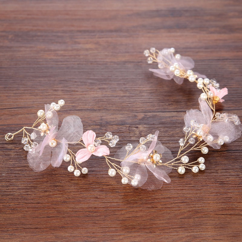 Chica rosa perla diademas de flores hecho a mano de Oro de las mujeres Floral Hairband tiara Boda nupcial accesorios de joyas para el pelo SL