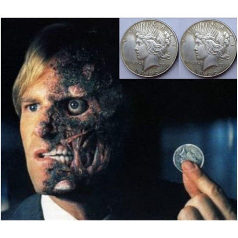 Película Batman Moneda de dos caras accesorio de truco de moneda Cosplay de El caballero oscuro Joker americano 1921 Estatua de la libertad Moneda de paloma de la paz