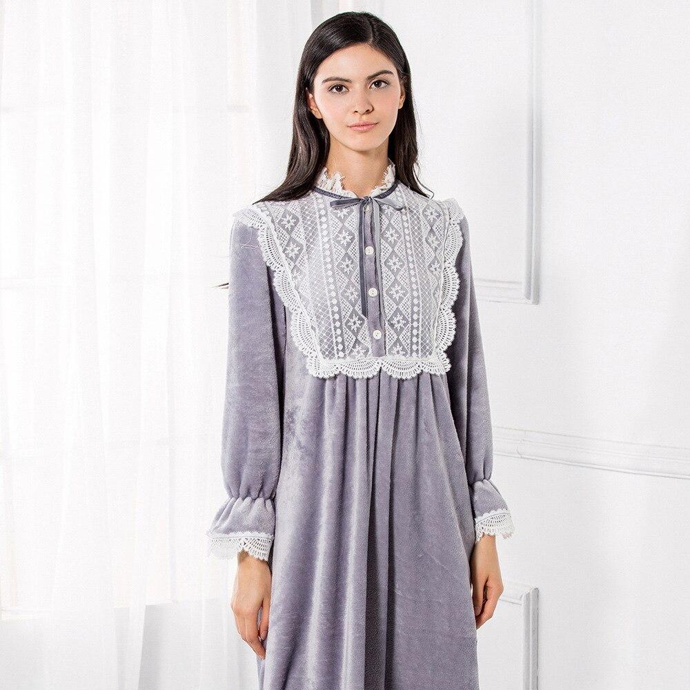 Otoño Invierno mujer ropa de dormir de lana de Coral de encaje dulce princesa real camisón cuello redondo camisones con estilo D171212