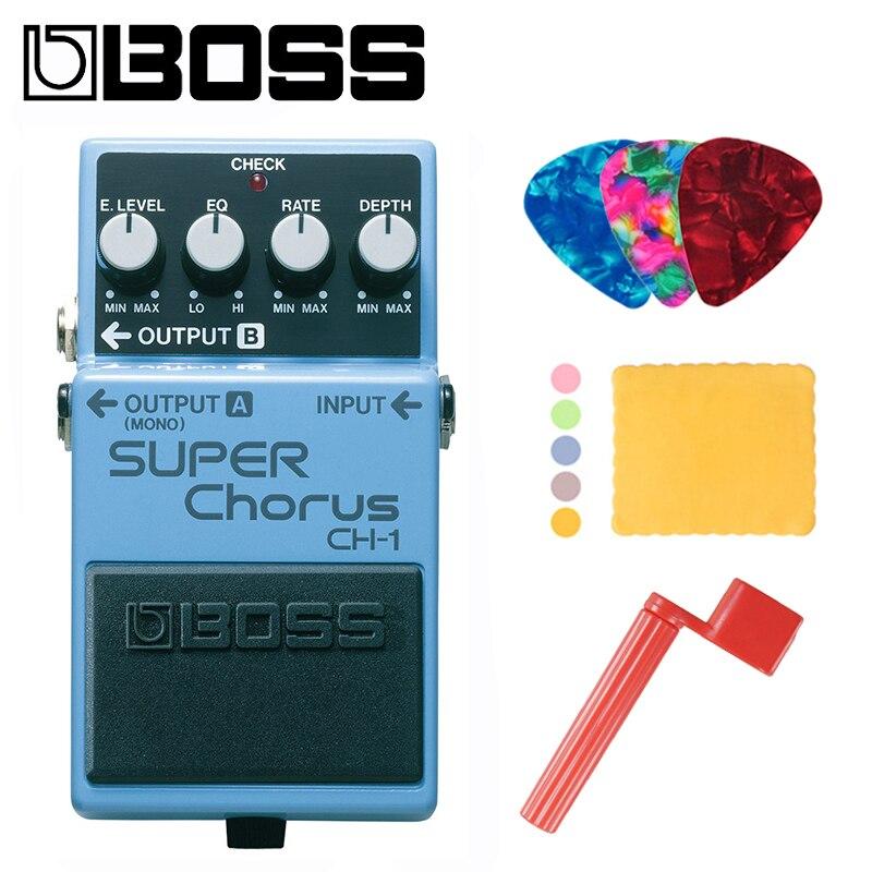 Boss CH-1 audio estéreo Super Pedal de efectos de coro para guitarra y teclado paquete con púas, paño de pulido y enrollador de cuerdas